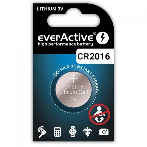 1 x batteri CR2016 litium mini everActive  Min.Leverans:10st