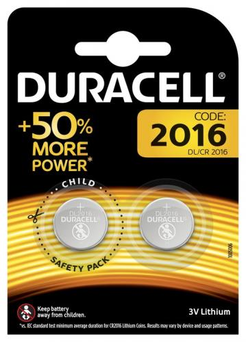 2 x Mini Litium batteri Duracell CR2016 DL2016 ECR2016