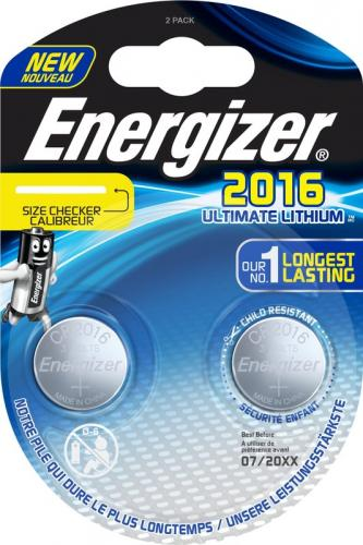 2 x Mini Litiumbatteri Energizer Ultimate Lithium CR2016