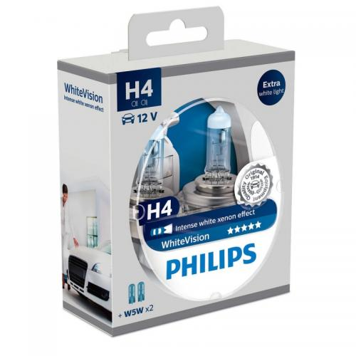 2x Philips H4 WhiteVision + 2x W5W
