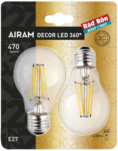 LED-lampa AIRAM LED-A60 6, 5W/828 E27 CL 2PACK