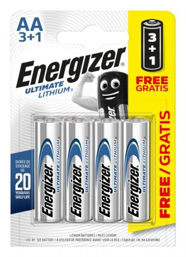 2st 4 x litiumbatteri tagen Energizer L91 Ultimate Lithium R6 AA