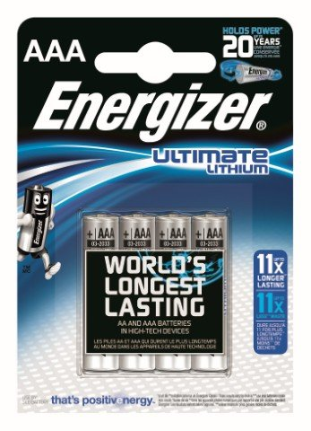 4 x litiumbatteri tagen Energizer L92 Ultimate Lithium R03 AAA