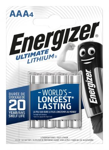 2st 4 x litiumbatteri tagen Energizer L92 Ultimate Lithium R03 AAA