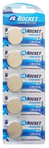 5 x Litium ROCKET CR2016 batteri