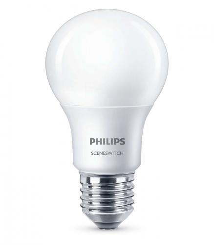 PHILIPS LED SceneSwitch 8W - 5W - 2W E27 WW A60 230V 2700K - 2500K -2200K  806lm -320lm - 80lm