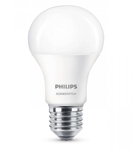 PHILIPS LED SceneSwitch 9,5W - 5W E27 WW A60 230V 4000K - 2700K  806lm -320lm - 80lm