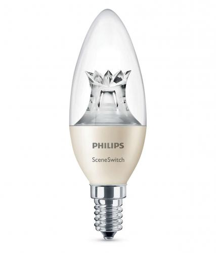 PHILIPS LED SceneSwitch 5,5W - 4W - 2W E27 WW B38 230V 2700K - 2500K -2200K  470lm -190lm - 50lm