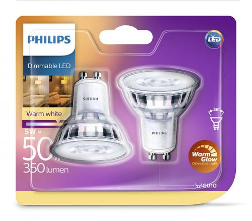Philips 2-pack DIM LED GU10 5W(50) 2700K 345 36D Min.Leverans6st