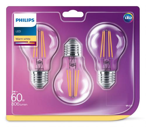 Philips 3-pack LED Filament 6W 2700K 806lm E27 A60 Min.Leverans:6st