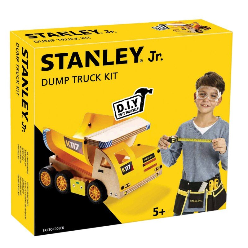 Bygga - Bygg din egen STANLEY jr dumper, en prenumeration för barn på kreativa leksaker, spika, skruva och klistra ihop olika mästerverk med de medföljande figurssågade trädelarna. Anpassade verktyg för barn ingår.