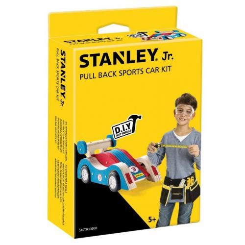 Bygga - Bygg din egen STANLEY jr racerbil blå, en prenumeration för barn på kreativa leksaker, spika, skruva och klistra ihop olika mästerverk med de medföljande figurssågade trädelarna. Anpassade verktyg för barn ingår.