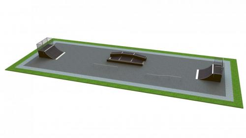 Base skatepark H1.5xW10.0xL30.0m