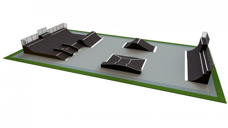 Base skatepark H3.5xW18.0xL35.0m