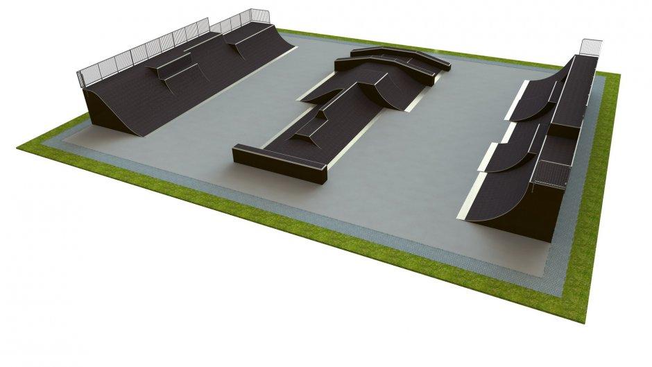 Base skatepark H4.0xW25.0xL30.0m