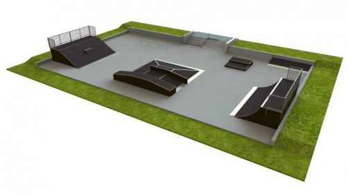 Base skatepark H1.5xW15.0xL25.0m