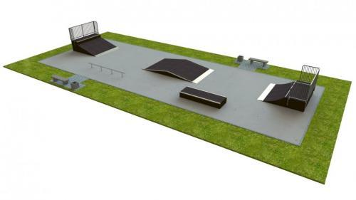 Base skatepark H1.0xW8.0xL22.0m