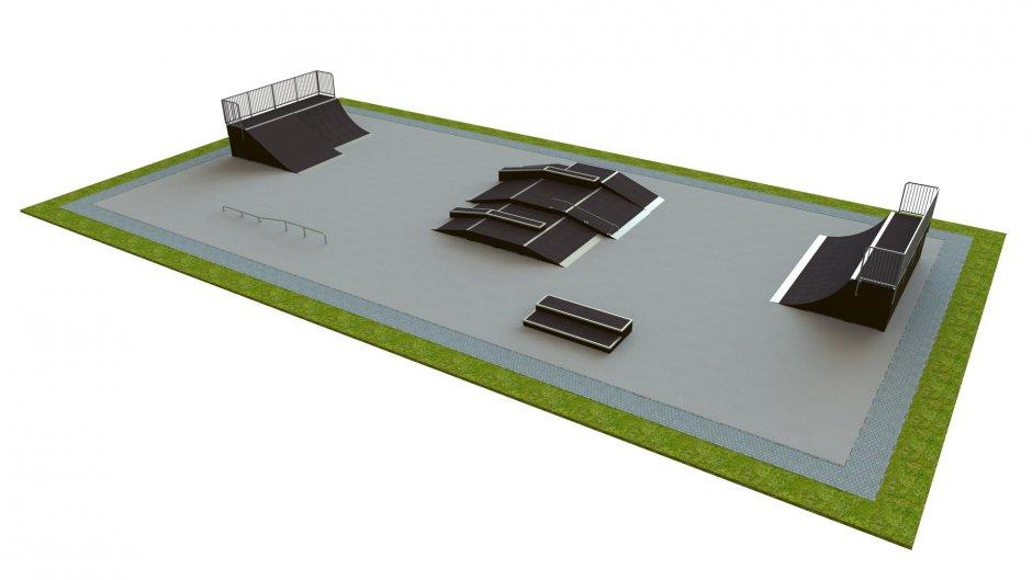 Base skatepark H1.5xW15.0xL30.0m