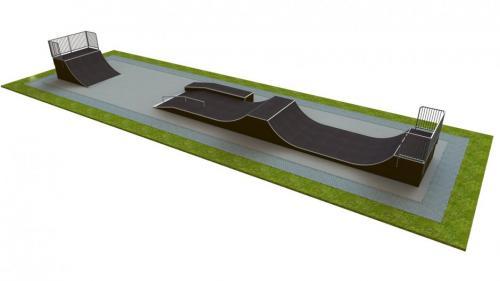 Base skatepark H1.5xW6.0xL25.0m
