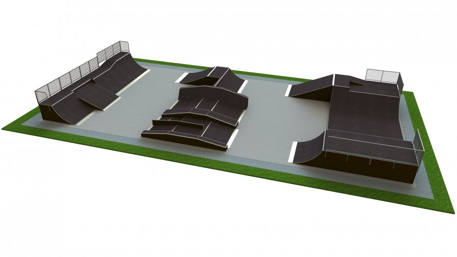 Base skatepark H1.8xW15.0xL30.0m