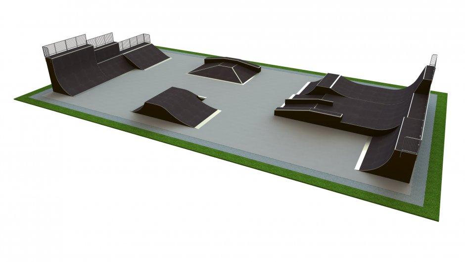 Base skatepark H4.0xW20.0xL38.0m