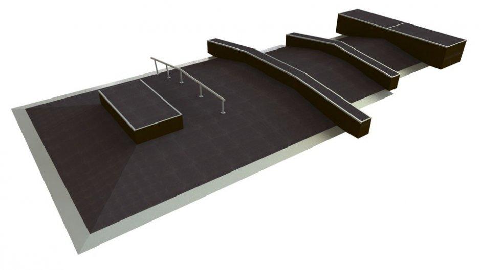 Skateboard funbox, H1.0 x W16.8 x L8.0