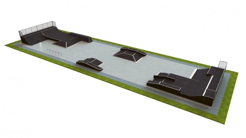 Base skatepark H1.5xW10.0xL40.0m