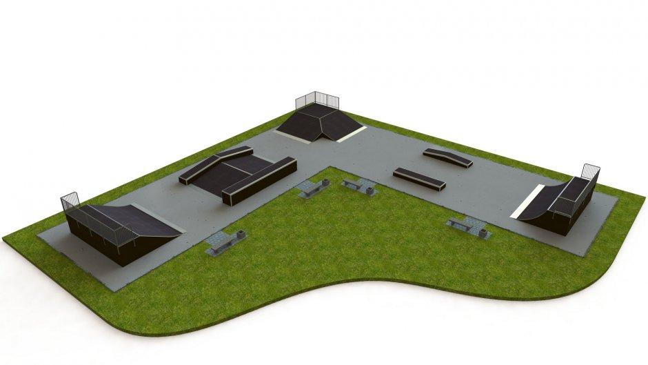 Base skatepark H1.5xW9.0mxL29.0x29.0m