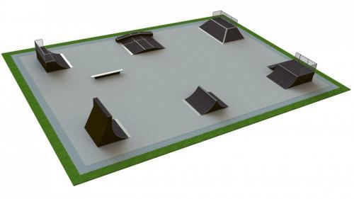 Base skatepark H3.5xW25.0xL35.0m
