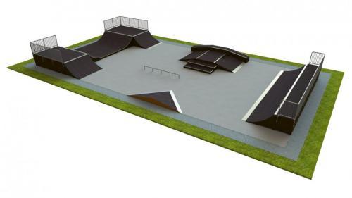 Base skatepark H1.2xW13.0x20.0m