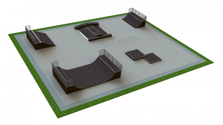 Base skatepark H1.5xW25.0xL30.0m