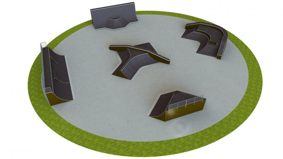 Base skatepark H4.0xW43.0xL43.0m