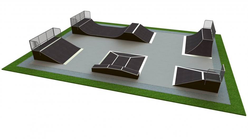 Base skatepark H1.5xW14.0xL20.0m