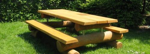 Bänkbord för vuxen i robinia och lärk
