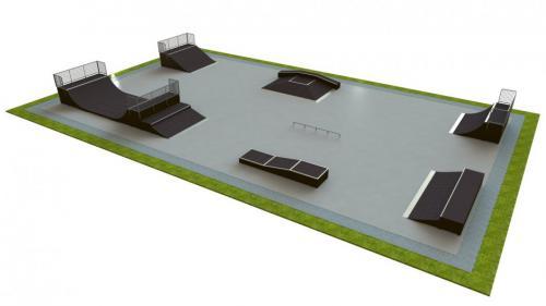 Base skatepark H1.5xW20.0xL35.0m
