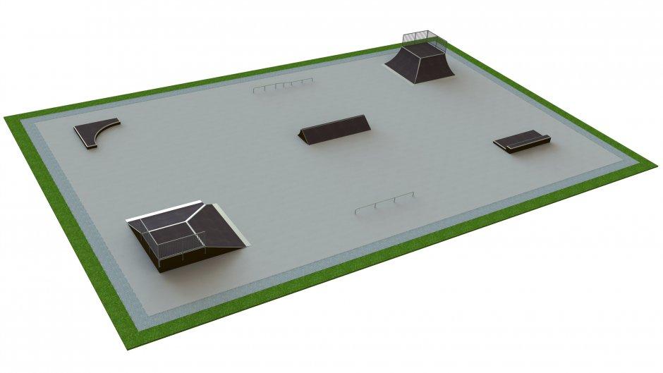 Base skatepark H1.5xW25.0xL40.0m