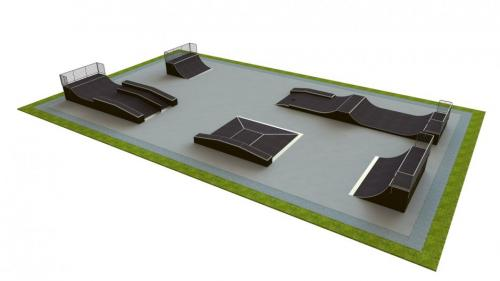 Base skatepark H1.7xW20.0xL35.0m
