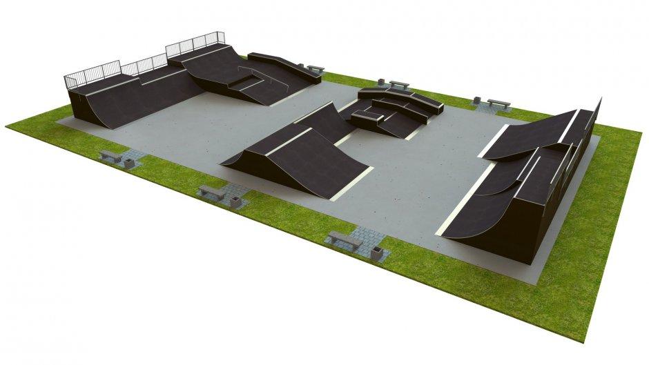 Base skatepark H3.0xW18.0xL33m