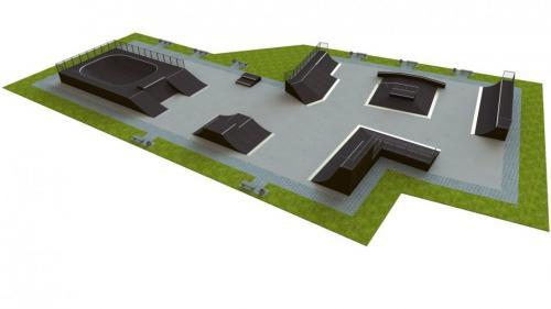 Base skatepark H3.0xW30.0xL33.0m