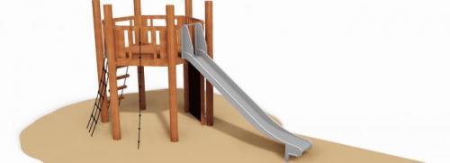 Robinia klättersystem med rutsch och plattform