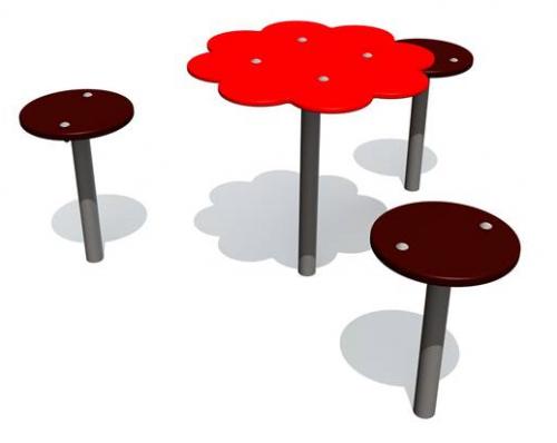 Sandbakbord blomma med 3 sittplatser