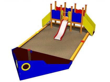 Lekskeppet GRANT med sandlåda och rutsch