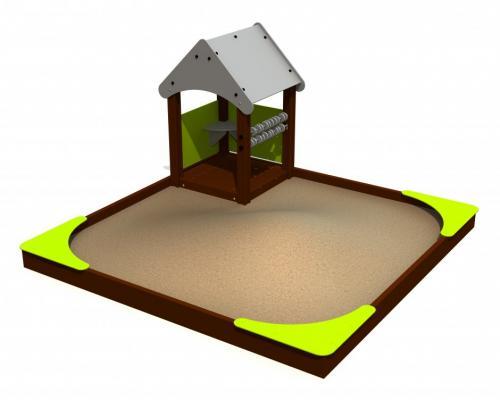 Sandlåda 3x3 m med litet hus