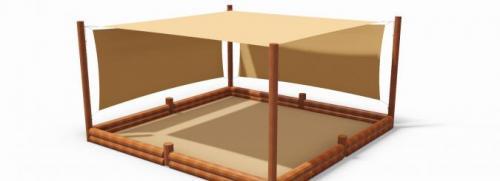 Sandlåda med solsegel 4.20x4.20 m