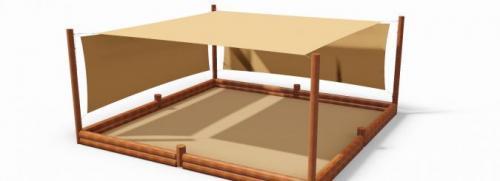 Sandlåda med solsegel 4.90x4.90 m
