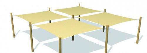Solsegelsystem 4 delar. 3,6x3,6 m HDPE Camel