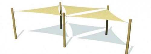 Solsegelsystem 3 delar. 3,6x3,6x3,6 m HDPE Camel