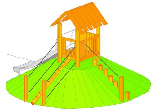 Hus på kulle med två styck uppgångar