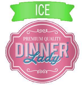 mörkrosa dinner lady logga med ljusgrön banner upptill med ordet ice