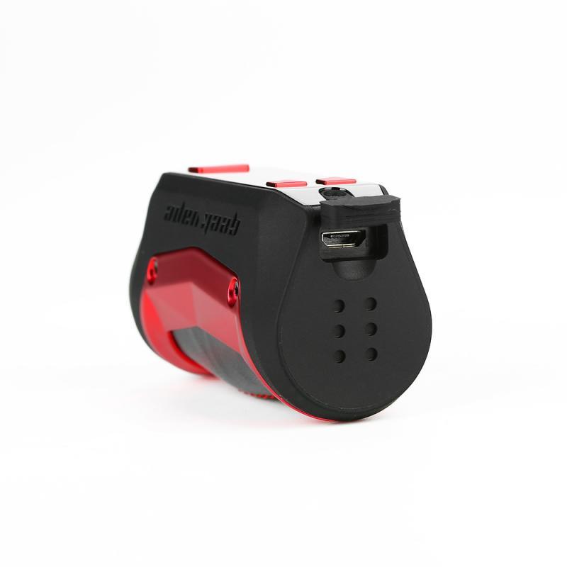 profil av Geekvape Aegis Mini Mod liggande med batteriluckan mot kameran